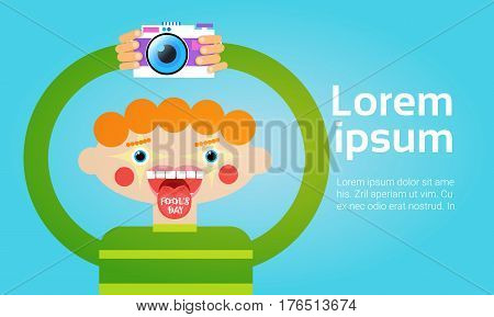 Cartoon Boy Holding Photo Camera Photography Blogger Flat Vector Illustration
