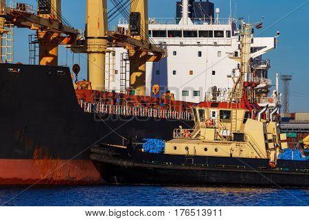 Black Cargo Ship Mooring
