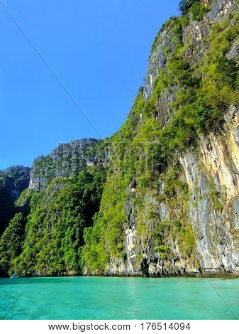 Limestone Cliffs Of Phi Phi Leh Island, Krabi Province, Thailand.