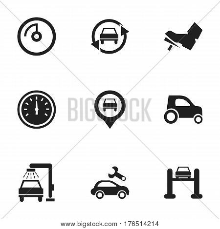 Set Of 9 Editable Traffic Icons. Includes Symbols Such As Treadle, Vehicle Car, Auto Service And More. Can Be Used For Web, Mobile, UI And Infographic Design.