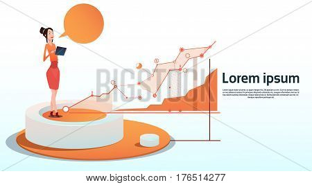Businesswoman Visualization Analysis Finance Graph Financial Business Chart Copy Space Flat Vector Illustration
