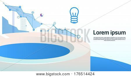 Analysis Finance Graph Financial Business Chart Copy Space Flat Vector Illustration