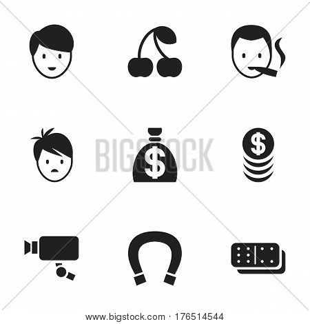 Set Of 9 Editable Game Icons. Includes Symbols Such As Boy, Bones Game, Luck Charm And More. Can Be Used For Web, Mobile, UI And Infographic Design.