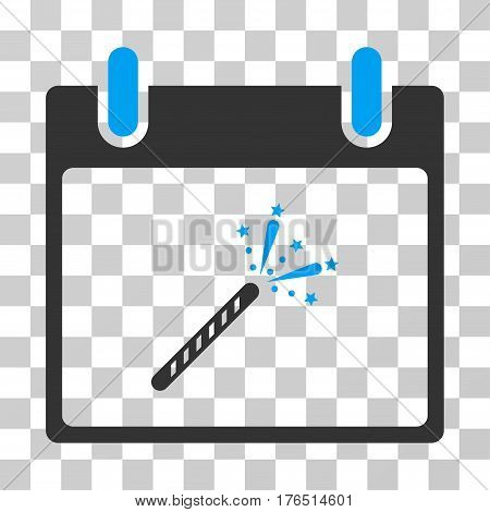 Sparkler Firecracker Calendar Day icon. Vector illustration style is flat iconic bicolor symbol, blue and gray colors, transparent background. Designed for web and software interfaces.