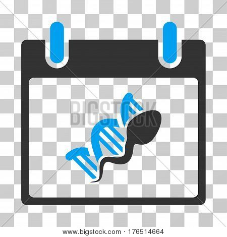 Sperm DNA Replication Calendar Day icon. Vector illustration style is flat iconic bicolor symbol, blue and gray colors, transparent background. Designed for web and software interfaces.