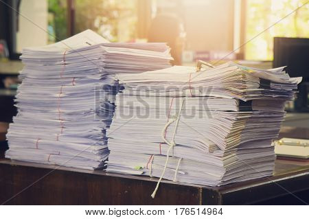 Business Concept, Pile Of Unfinished Documents On Office Desk, Stack Of Business Paper, Vintage Effe