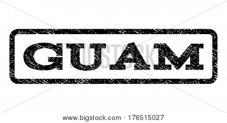 Guam watermark stamp. Text tag inside rounded rectangle frame with grunge design style. Rubber seal stamp with dust texture. Vector black ink imprint on a white background.