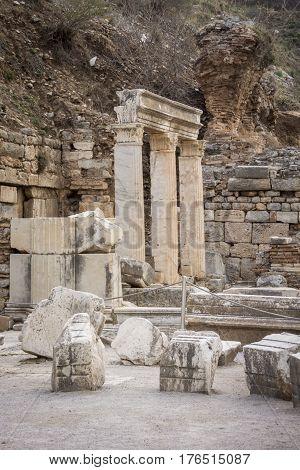 Columns in the ancient city of Ephesus Selcuk Turkey