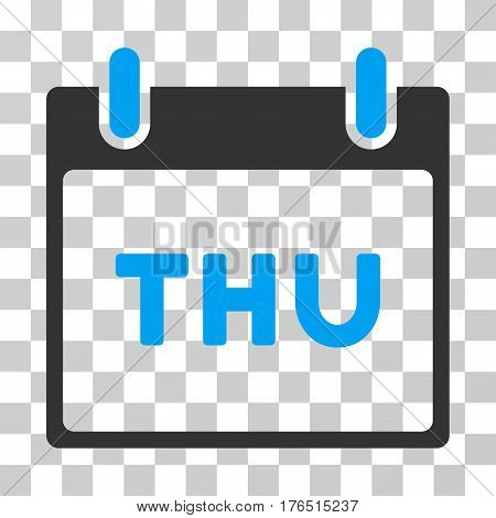 Thursday Calendar Page icon. Vector illustration style is flat iconic bicolor symbol, blue and gray colors, transparent background. Designed for web and software interfaces.