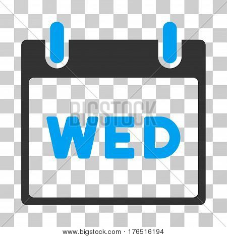 Wednesday Calendar Page icon. Vector illustration style is flat iconic bicolor symbol, blue and gray colors, transparent background. Designed for web and software interfaces.