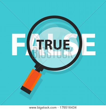 True false concept business magnifying word focus on text vector