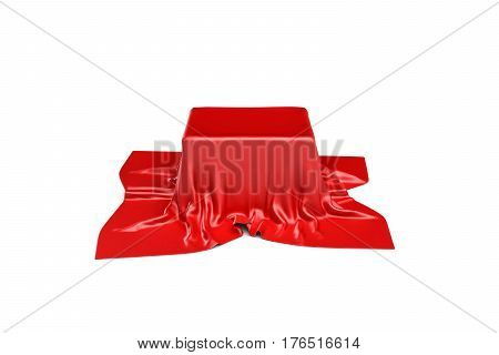 3d rendering of a box covered by red cloth in front view. Ads and promotion. Marketing campaigns. Opening shows.