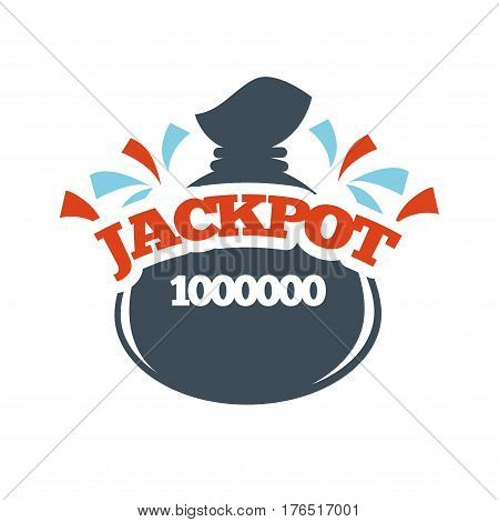 Bingo lotto lottery logo template. Jackpot money bag prize vector isolated icon
