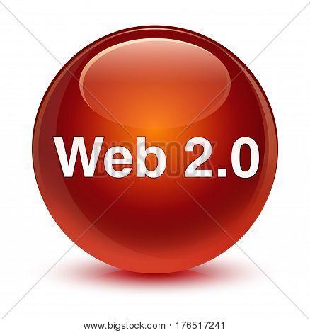 Web 2.0 Glassy Brown Round Button