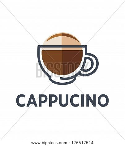 Coffee cappuccino logo for cafe or cafeteria takeaway icon template. Vector hot drink with milk foam and cinnamon in glass cup for coffeeshop, coffeehouse or fast food menu design element