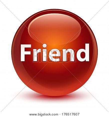 Friend Glassy Brown Round Button