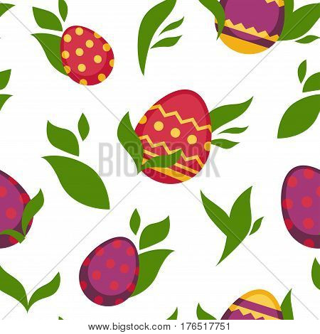 Easter seamless pattern of paschal eggs with spring leaf. Vector white background for holiday greeting card