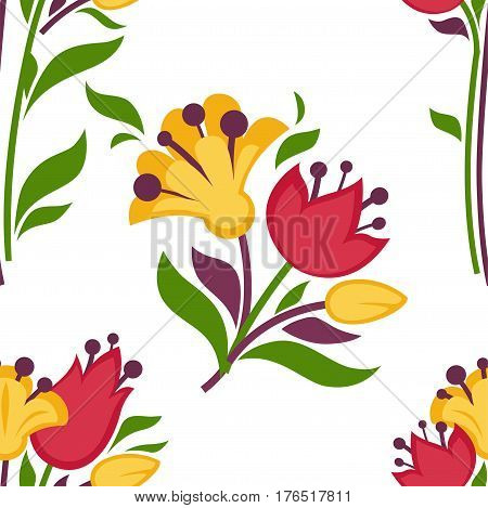 Easter seamless pattern of spring flowers bunch or bouquet with lily or snowdrop, tulip and daffodil. Vector white paschal background for holiday greeting card