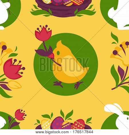 Easter pattern of paschal eggs in wicker basket, bunny rabbit and chicken chick with spring flowers. Vector seamless background for holiday greeting