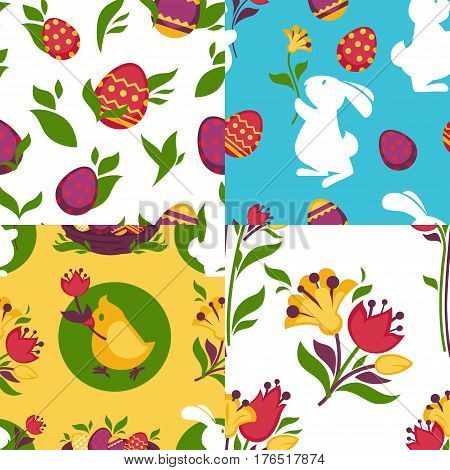 Easter pattern backgrounds set of paschal eggs in wicker basket, bunny rabbit and chicken chick with spring flowers. Vector seamless design for holiday greeting