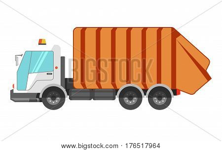 Garbage removal dustcart truck icon. Litter dust cart or waste cleaner machine vector isolated flat icon