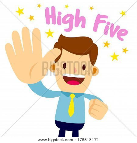 Vector stock of a businessman lifting his palm saying high five