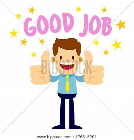Vector stock of a businessman lifting his two thumbs up saying good job
