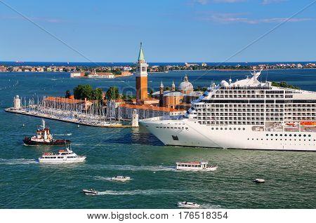 Cruise Ship Moving Through San Marco Canal In Venice, Italy