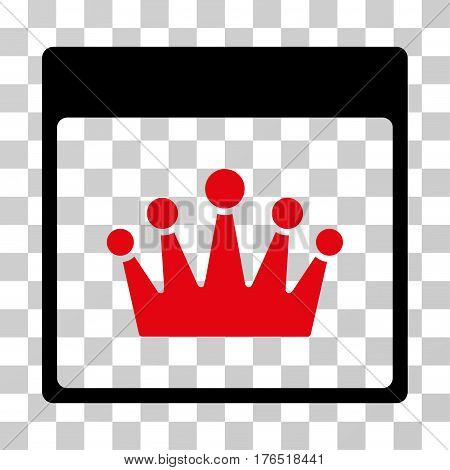 Crown Calendar Page icon. Vector illustration style is flat iconic bicolor symbol, intensive red and black colors, transparent background. Designed for web and software interfaces.