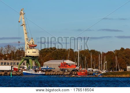 Cargo crane in the port of Riga Europe