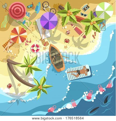 Relax on sea beach vector top view. Vector flat design of woman tan on sand or lounge chair under umbrella in palms. Man swimming on water near boat. Summer holiday exotic vacations resort concept