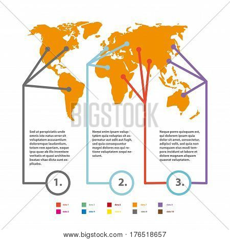 World map infographics vector elements template. Statistics and analytics of continents population for consumer market, marketing business or demographic social information