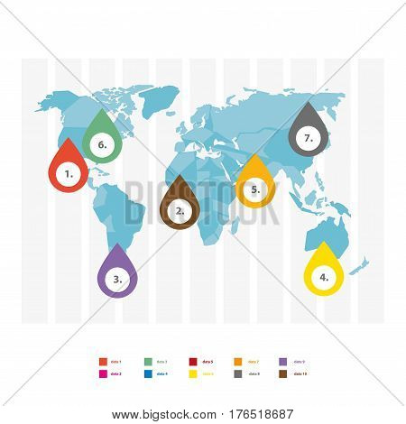 World map infographics vector elements template. Continents market statistics and analytics consumer marketing business or demographic social information