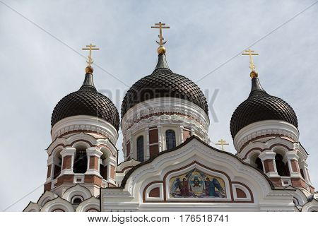 Top of Alexander Nevsky Cathedral in Tallinn, Estonia
