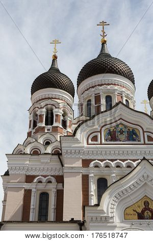 Towers on Alexander Nevsky Cathedral in Tallinn, Estonia