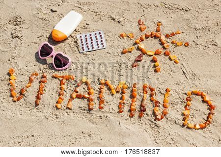 Medical Pills, Inscription Vitamin D And Accessories For Sunbathing On Sand At Beach, Summer Time An