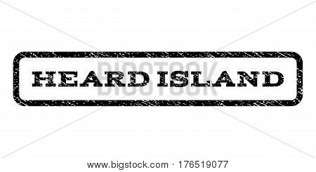Heard Island watermark stamp. Text tag inside rounded rectangle with grunge design style. Rubber seal stamp with dirty texture. Vector black ink imprint on a white background.