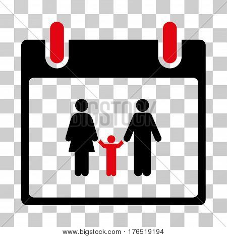 Family Calendar Day icon. Vector illustration style is flat iconic bicolor symbol, intensive red and black colors, transparent background. Designed for web and software interfaces.