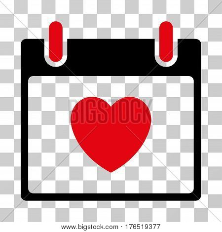 Favourite Heart Calendar Day icon. Vector illustration style is flat iconic bicolor symbol, intensive red and black colors, transparent background. Designed for web and software interfaces.