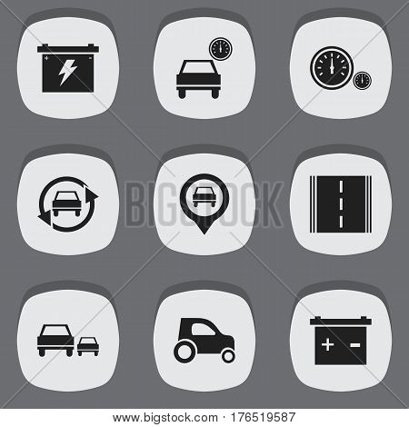 Set Of 9 Editable Vehicle Icons. Includes Symbols Such As Automobile, Highway, Vehicle Car And More. Can Be Used For Web, Mobile, UI And Infographic Design.