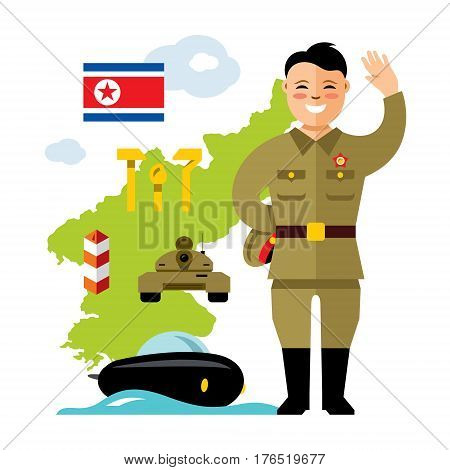 Korean soldiers welcomed waving. Isolated on a white background