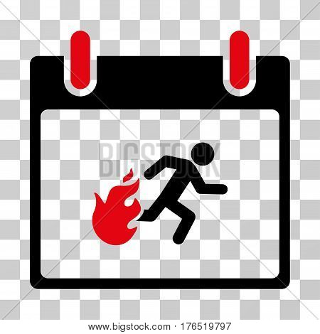 Fire Evacuation Man Calendar Day icon. Vector illustration style is flat iconic bicolor symbol, intensive red and black colors, transparent background. Designed for web and software interfaces.