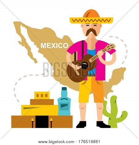 Mexican with guitar. Isolated on a white background