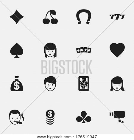 Set Of 16 Editable Business Icons. Includes Symbols Such As Lucky Seven, Stacked Money, Moneybag And More. Can Be Used For Web, Mobile, UI And Infographic Design.