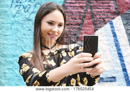 Woman Making Selfie And Showing Tongue.