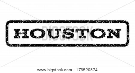 Houston watermark stamp. Text tag inside rounded rectangle with grunge design style. Rubber seal stamp with unclean texture. Vector black ink imprint on a white background.