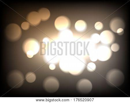 Brown bokeh background. Dark brown defocused light, flickering lights. Vector illustration.