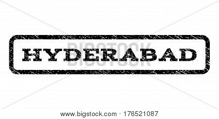 Hyderabad watermark stamp. Text tag inside rounded rectangle frame with grunge design style. Rubber seal stamp with scratched texture. Vector black ink imprint on a white background.