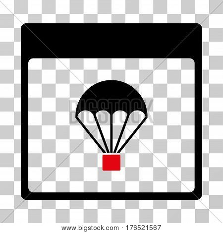Parachute Calendar Page icon. Vector illustration style is flat iconic bicolor symbol, intensive red and black colors, transparent background. Designed for web and software interfaces.