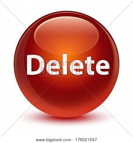 Delete Glassy Brown Round Button